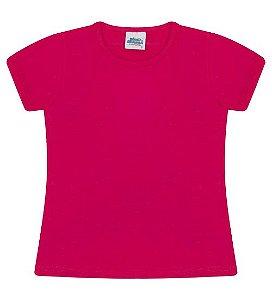 Blusa básica cor pink com manga e gola redonda