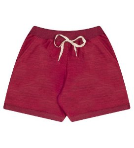 Shorts em moleton leve para meninas na cor vermelho cereja