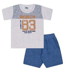 Conjunto Bermuda e Camiseta nas cores mescla banana e azul