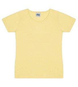 Blusa básica cor amarela com manga e gola redonda