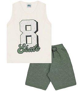 Conjunto Bermuda e Regata nas cores algodão cru e verde