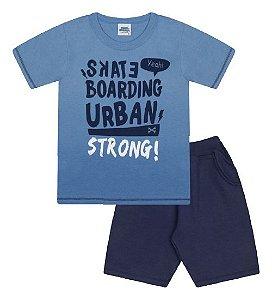 Conjunto Bermuda e Camiseta nas cores azul e azul pavão