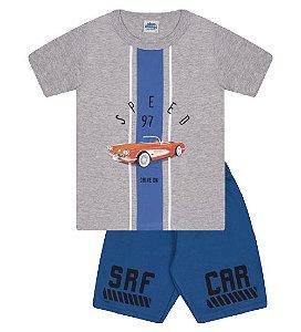 Conjunto Bermuda e Camiseta nas cores cinza mescla e azul