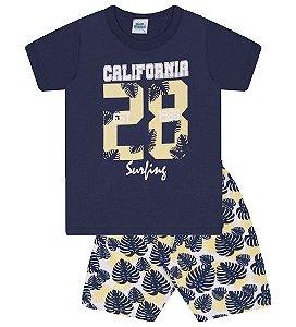 Conjunto Bermuda e Camiseta nas cores azul marinho e amarelo