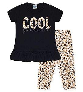 Conjunto Corsário e Blusa para meninas na cor preta