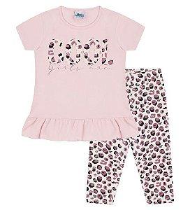 Conjunto Corsário e Blusa para meninas na cor rosa bebê