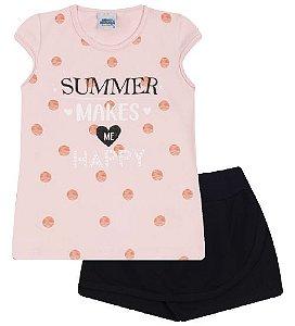 Conjunto Shorts-saia e Blusa nas cores rosa bebê e preto