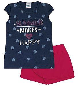 Conjunto Shorts-saia e Blusa nas cores azul marinho e pink