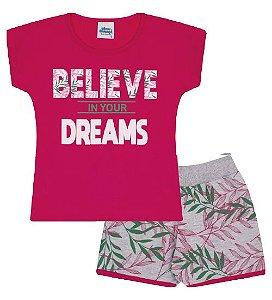 Conjunto Shorts e Blusa nas cores pink e mescla com folhas verdes