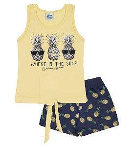 Conjunto Shorts e Blusa nas cores amarelo e azul marinho
