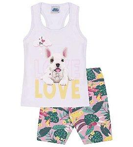 Conjunto Bermuda e Blusa nas cores branco e rosa animais e folhas