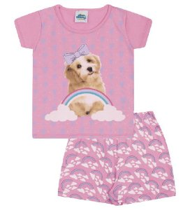 Pijama rosa babaloo, estampa de cachorrinho, brilha no escuro