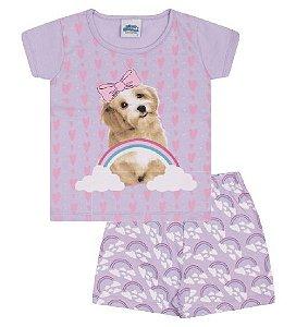 Pijama lilás, estampa de cachorrinho que brilha no escuro