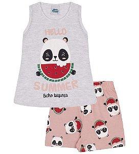 Pijama mescla banana estampa panda com melancia, brilha no escuro