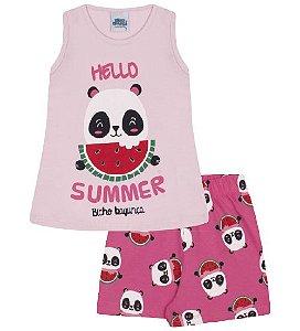 Pijama rosa bebê, estampa panda com melancia, brilha no escuro