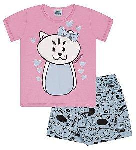 Pijama cor rosa babaloo, estampa gatinha que brilha no escuro
