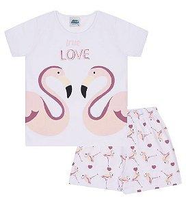 Pijama cor branca com estampa de flamingo que brilha no escuro