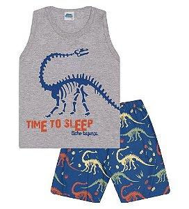 Pijama cor cinza mescla com estampa dinossauro, brilha no escuro