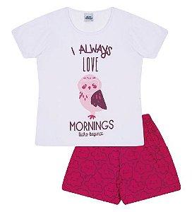 Pijama cor branca com estampa coruja, brilha no escuro