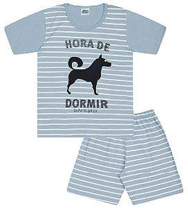 Pijama cor azul bebê com estampa de cachorro que brilha no escuro