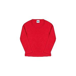 Blusa em cotton de manga comprida sem estampa cor escarlate vermelho