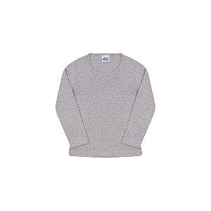 Blusa em cotton de manga comprida sem estampa cor mescla