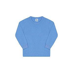 Camisa básica com gola redonda e punho cor azul pavão
