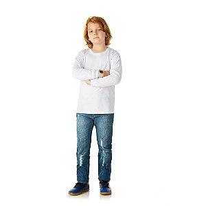 Camisa em meia malha sem estampa cor branco