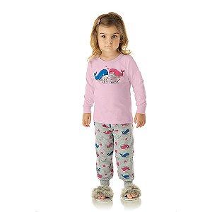 Pijama menina rosa bebê, estampa aleia que brilham escuro