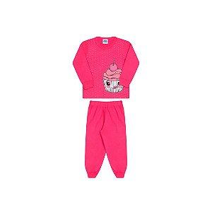 Pijama menina pink, estampa cupcake que brilha escuro