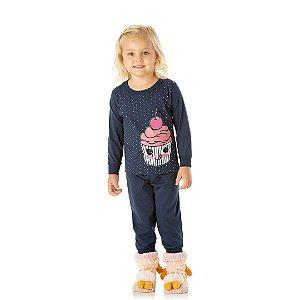 Pijama menina marinho, estampa cupcake que brilha escuro