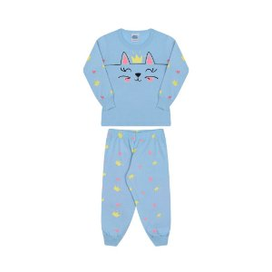 Pijama manga comprida, azul bebê, estampa gato, brilha escuro