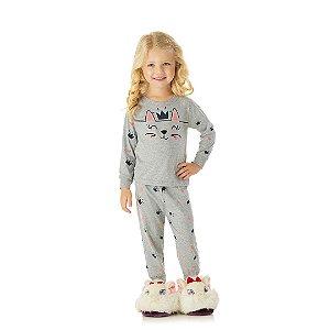 Pijama manga comprida, mescla, estampa gato, brilha escuro
