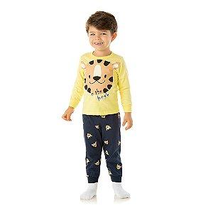 Pijama cor amarelo, estampa tigre que brilha escuro