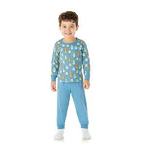 Pijama cor azul pavão, estampa monstro que brilham escuro