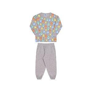 Pijama cor mescla, estampa monstro que brilham escuro