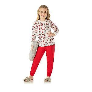 Pijama cor cru, estampa de coelho que brilha escuro