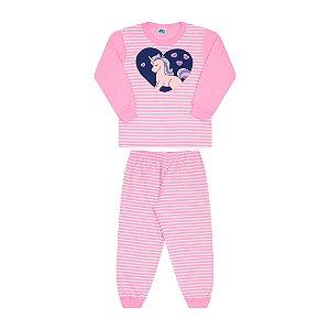 Pijama cor babaloo com estampa de unicórnio que brilha no escuro