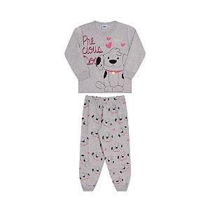 Pijama cor mescla, estampa de cachorrinho que brilha no escuro