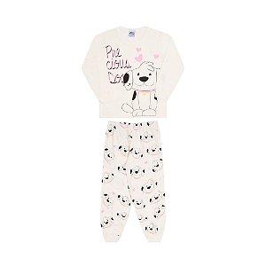 Pijama cor cru, estampa de cachorrinho que brilha no escuro