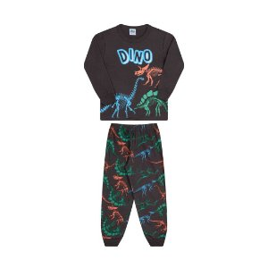 Pijama cor chumbo, estampa de dinossauro que brilha no escuro