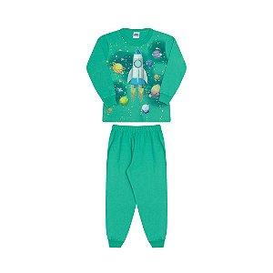 Pijama cor verde marine, estampa de nave que brilha no escuro