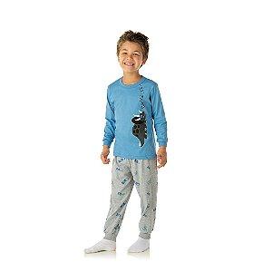 Pijama cor azul pavão, estampa de dinossauro que brilha no escuro