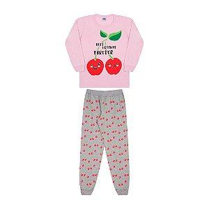 Pijama cor rosa bebê, estampa de cereja que brilha no escuro