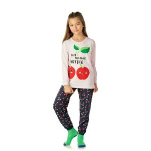 Pijama cor cru, estampa de cereja que brilha no escuro