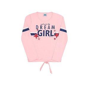 Blusa em cotton com detalhe nó cor rosa bebê