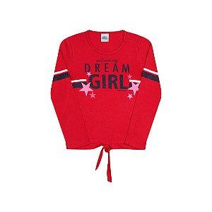 Blusa em cotton com detalhe nó cor escarlate vermelho