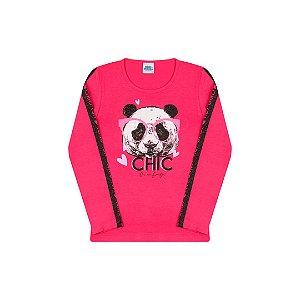 Blusa manga comprida com estampa de urso cor pink