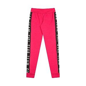 Calça em cotton com recorte estampado cor pink