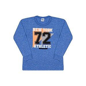 Camisa em meia malha moline com estampa cor azul clássico